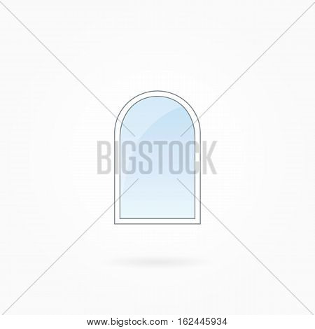 Window frame vector illustration, single closed modern arched window. White plastic window with blue sky glass, outdoor objects collection, flat style. Clean editable isolated design element. Eps 10