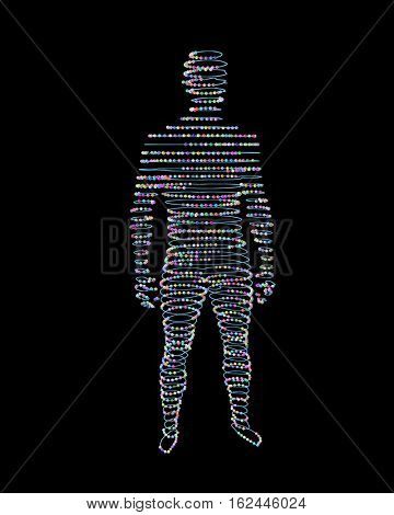 Wire man on a black background,  3d illustration