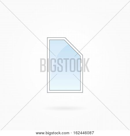 Window frame vector illustration, single closed modern window with bevelled corner. White plastic window with blue sky glass, outdoor objects collection, flat style. Isolated design element. Eps 10