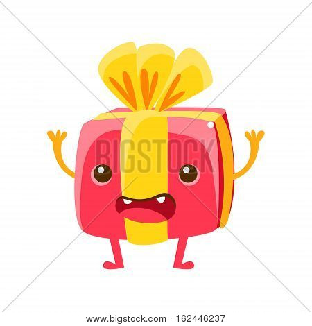 Wrapped Present Box, Happy Birthday And Celebration Party Symbol Cartoon Character. Colorful Humanized Birthday Party Associated Element With Arms And Legs.
