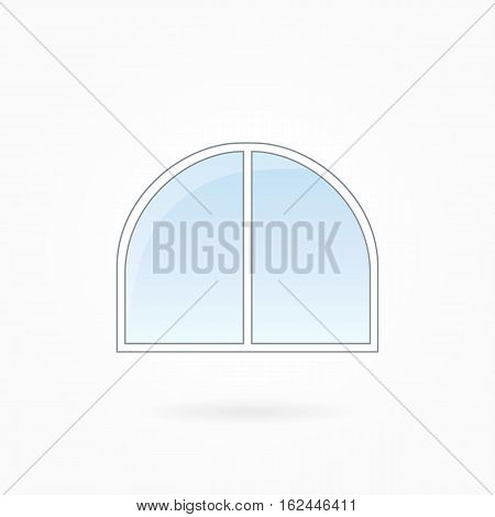 Window frame vector illustration, double closed arched window with rounded corners. White plastic window with blue sky glass, outdoor objects collection, flat style. Isolated design element. Eps 10