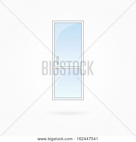 Door frame vector illustration, single closed transparent door with two vertical halves. White plastic door with blue sky glass, outdoor objects collection, flat style. Isolated design element. Eps 10