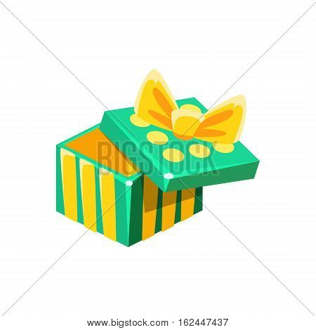 Green And Yellow Empty Gift Box Without Present, Decorative Wrapped Cardboard Celebration Giftbox. Colorful Isolated Icon With Specially Packed Party Offering.