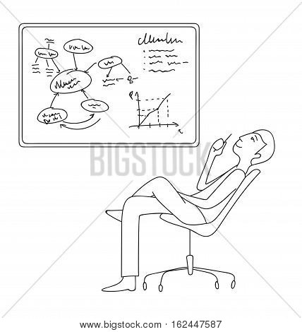 Businessmen working, thinking next to whiteboard vector illustration, Cartoon thin line style