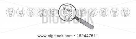 People search, selection, Business recruitment horizontal concept, Many people faces and one selected with magnifying glass, thin line style vector