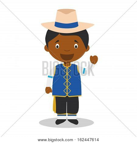 Character from Barbados dressed in the traditional way Vector Illustration. Kids of the World Collection.