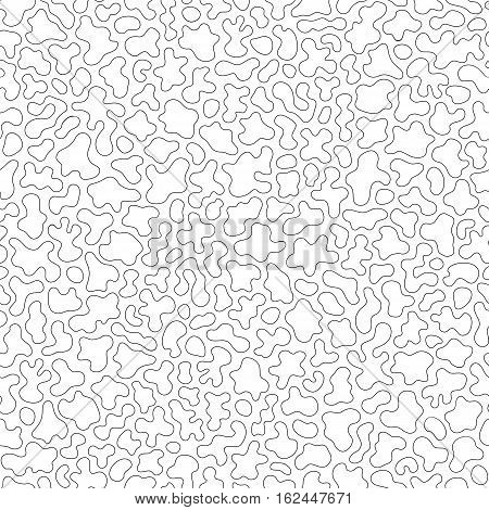 Vector monochrome seamless pattern, black countour wavy lines. Abstract endless ornamental texture, camouflage background, topographic map style. Design element for fabric, prints, textile, wrapping, decoration