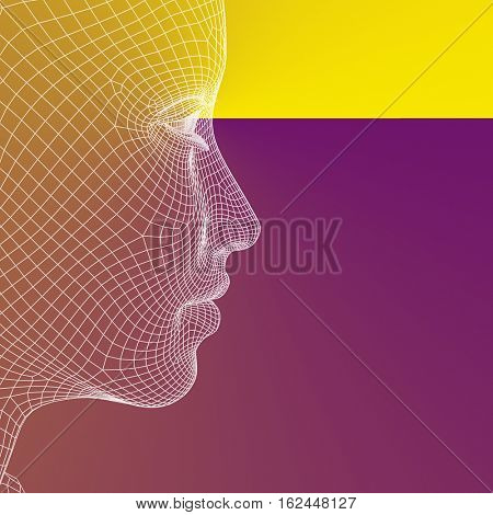 Concept or conceptual 3D illustration wireframe young human female or woman face or head on purple orange background