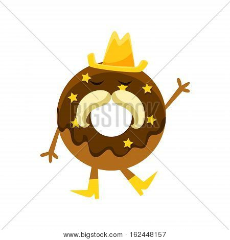 Humanized Doughnut With Chocolate Glazing, Cowboy Hat And Horseshoe Moustache Cartoon Character With Arms And Legs. Sweet Pastry Donut With Sprinkles Isolated Vector Illustration. poster