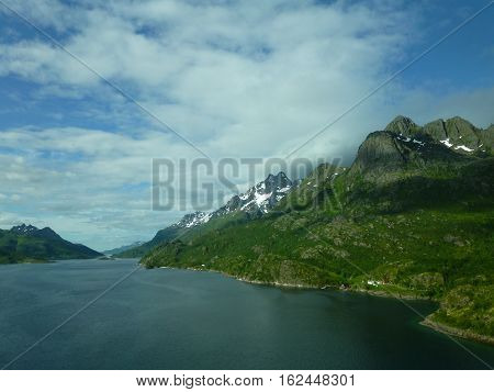 Landscape and rivers in Norway at Nordcap
