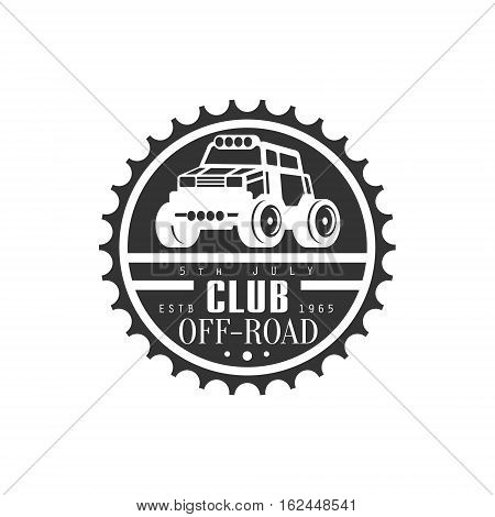 Off-Road Extreme Club And Rental Event Black And White Promo Label Design Template. Vector Monochrome Emblem For ATV Four Wheels Renting Service With Text And Car Silhouette.