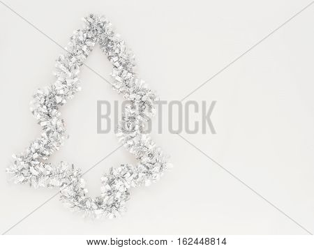 Silver glitter Xmas rainbow isolated on white background