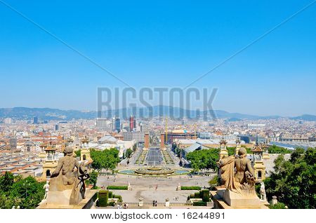 Aerial view of Barcelona and its skyline from Montjuich, Spain