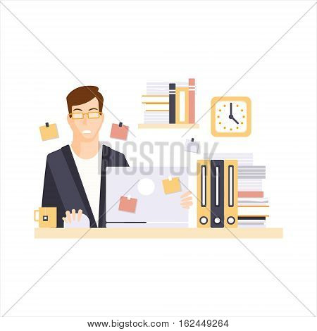 Man Office Worker In Office Cubicle Having His Daily Routine Situation Cartoon Character. Vector Primitive Illustration With Company Employee At His Desk.