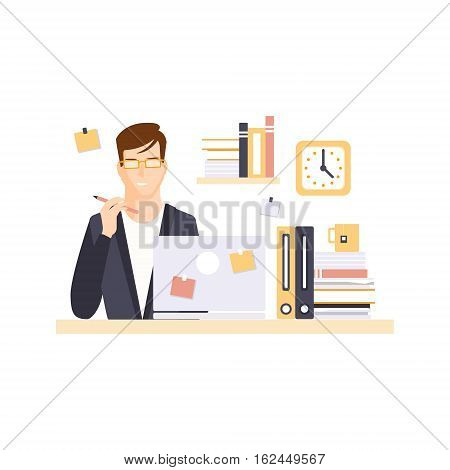 Thinking Man Office Worker In Office Cubicle Having His Daily Routine Situation Cartoon Character. Vector Primitive Illustration With Company Employee At His Desk.