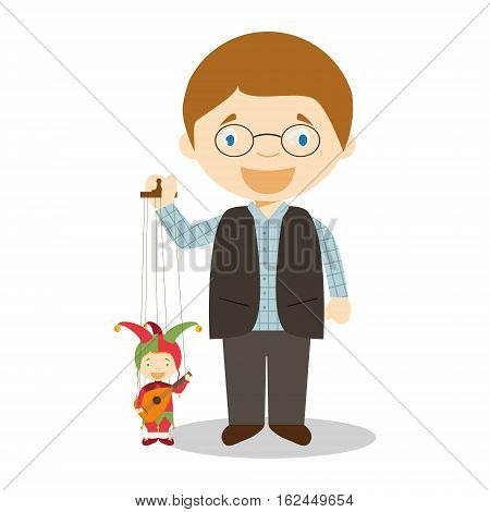 Pupperteer with typical puppet in Cezh Republic cartoon character. Vector Illustration. Kids of the World Collection.