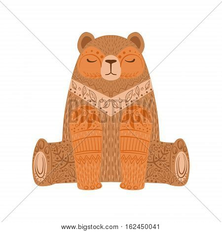 Brown Bear Relaxed Cartoon Wild Animal With Closed Eyes Decorated With Boho Hipster Style Floral Motives And Patterns. Flat Vector Forest Peaceful Fauna Illustration With Hand Drawn Artistic Ornamental Elements.