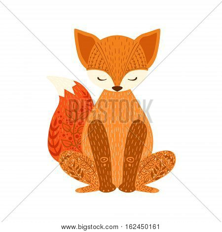 Fox Relaxed Cartoon Wild Animal With Closed Eyes Decorated With Boho Hipster Style Floral Motives And Patterns. Flat Vector Forest Peaceful Fauna Illustration With Hand Drawn Artistic Ornamental Elements.