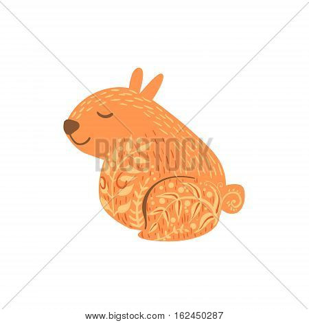 Hamster Relaxed Cartoon Wild Animal With Closed Eyes Decorated With Boho Hipster Style Floral Motives And Patterns. Flat Vector Forest Peaceful Fauna Illustration With Hand Drawn Artistic Ornamental Elements.