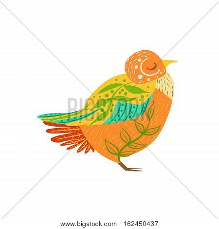 Partridge Relaxed Cartoon Wild Animal With Closed Eyes Decorated With Boho Hipster Style Floral Motives And Patterns. Flat Vector Forest Peaceful Fauna Illustration With Hand Drawn Artistic Ornamental Elements.