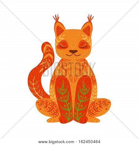 Lynx Relaxed Cartoon Wild Animal With Closed Eyes Decorated With Boho Hipster Style Floral Motives And Patterns. Flat Vector Forest Peaceful Fauna Illustration With Hand Drawn Artistic Ornamental Elements.