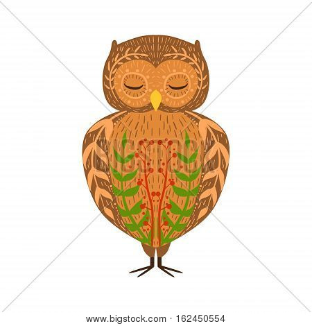 Eagle-Owl Relaxed Cartoon Wild Animal With Closed Eyes Decorated With Boho Hipster Style Floral Motives And Patterns. Flat Vector Forest Peaceful Fauna Illustration With Hand Drawn Artistic Ornamental Elements.