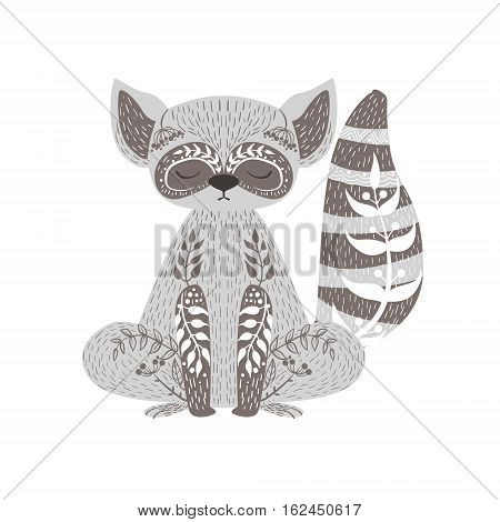 Raccoon Relaxed Cartoon Wild Animal With Closed Eyes Decorated With Boho Hipster Style Floral Motives And Patterns. Flat Vector Forest Peaceful Fauna Illustration With Hand Drawn Artistic Ornamental Elements.