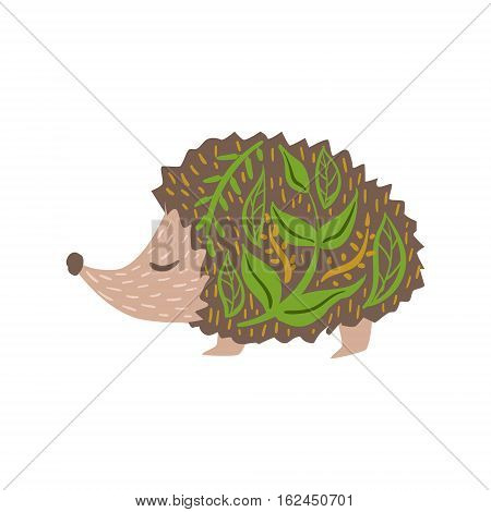 Hedgehog Relaxed Cartoon Wild Animal With Closed Eyes Decorated With Boho Hipster Style Floral Motives And Patterns. Flat Vector Forest Peaceful Fauna Illustration With Hand Drawn Artistic Ornamental Elements.