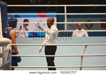 St. Petersburg Russia November 21 2016 AIBA Youth World Boxing Championships men, Boxing referee believes knockdown