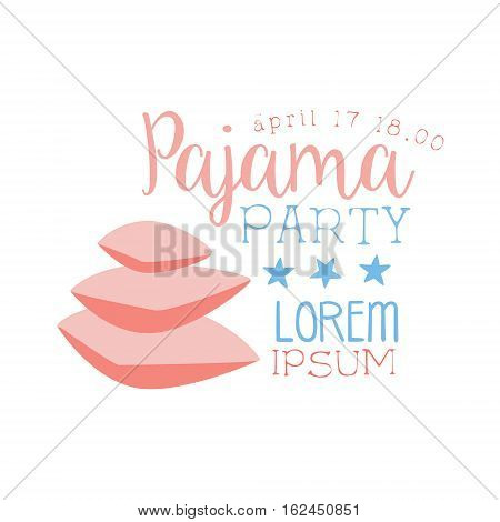 Girly Pajama Party Invitation Card Template With Pile Of Pillows Inviting Kids For The Slumber Pyjama Overnight Sleepover. Stencil For The Welcome Postcard With Night And Bed Symbols In Pastel Colors.