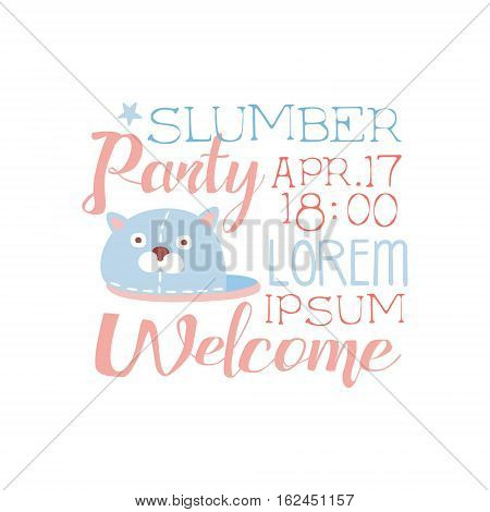 Girly Pajama Party Invitation Card Template With Slipper Inviting Kids For The Slumber Pyjama Overnight Sleepover. Stencil For The Welcome Postcard With Night And Bed Symbols In Pastel Colors.