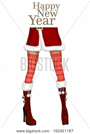 Christmas design. Happy New Year. Sexy female legs in the winter boots. Girl in costume of Snow Maiden. Vector illustration isolated on white background