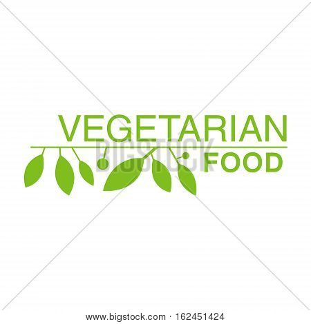 Vegan Natural Food Green Logo Design Template With Leaves Promoting Healthy Lifestyle And Eco Products. Fresh Bio Vegetables And Vegetarian Diet Vecto Label With Text.