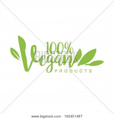 Vegan Natural Food Green Logo Design Template With Stylized Font Promoting Healthy Lifestyle And Eco Products. Fresh Bio Vegetables And Vegetarian Diet Vecto Label With Text.