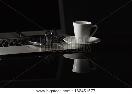 Cup Of Hot Espresso Coffee On Wood Table, Espresso Brew From Arabica Coffee With Laptop And Smartpho