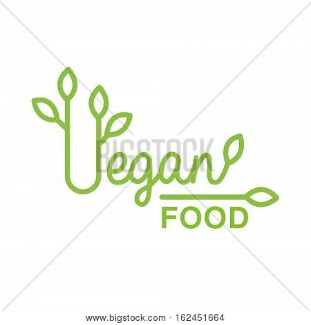Vegan Natural Food Green Logo Design Template WIth Leafy Font Promoting Healthy Lifestyle And Eco Products. Fresh Bio Vegetables And Vegetarian Diet Vecto Label With Text.