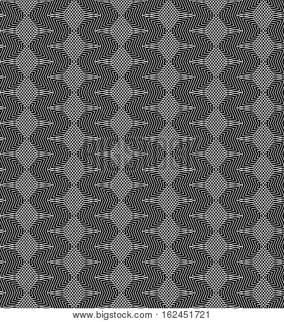 Vector monochrome seamless pattern. Lines rhombuses and angled figures, black & white repeat background. Geometric texture, visual halftone effect. Design element for tileable print, textile, digital, decoration, wrapping, cloth, fabric, furniture