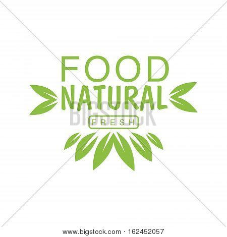 Vegan Natural Food Green Logo Design Template With Crown Of Leaves Promoting Healthy Lifestyle And Eco Products. Fresh Bio Vegetables And Vegetarian Diet Vecto Label With Text.
