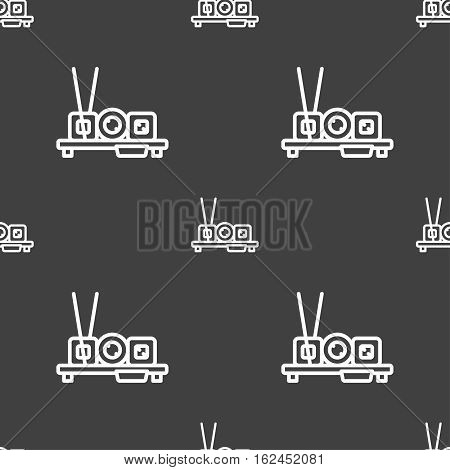 Sushi Icon Sign. Seamless Pattern On A Gray Background. Vector