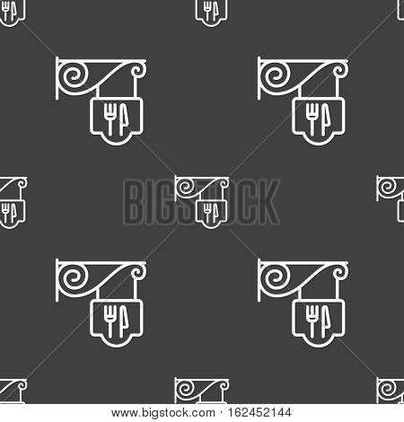 Restaurant Icon Sign. Seamless Pattern On A Gray Background. Vector
