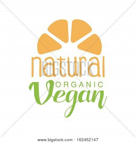 Vegan Natural Food Green Logo Design Template With Fruit Silhouette Promoting Healthy Lifestyle And Eco Products. Fresh Bio Vegetables And Vegetarian Diet Vecto Label With Text.