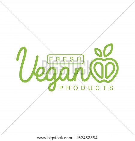 Vegan Natural Food Green Logo Design Template With Apple Promoting Healthy Lifestyle And Eco Products. Fresh Bio Vegetables And Vegetarian Diet Vecto Label With Text.