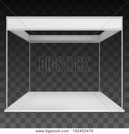 Trade Show Booth White and Blank. Blank Indoor Exhibition with Work Paths. Vector on black transparent background. Ad Template for your Expo design.