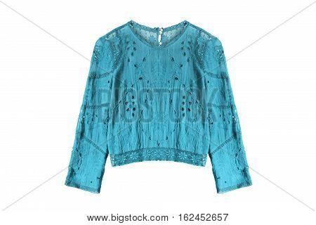 Ethnic blue lacy blouse on white background