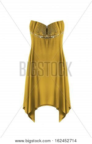 Golden silk strapless gown on white background
