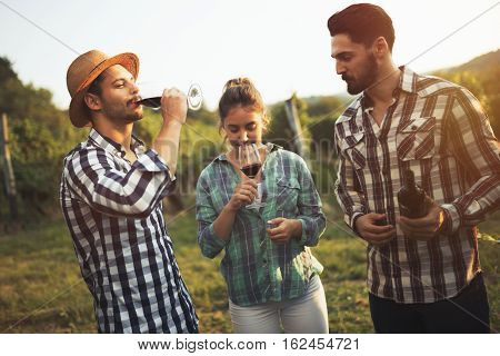 Wine Tourists Tasting Wine In Vineyard