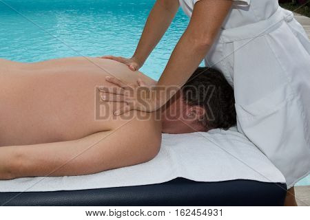 Massage For Man By Masseuse Outdoor And Pool