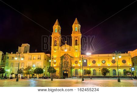 San Antonio Church at San Antonio Square in Cadiz - Spain, Andalusia