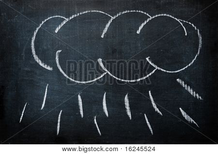 a cloud with rain drawn with a chalk on a blackboard
