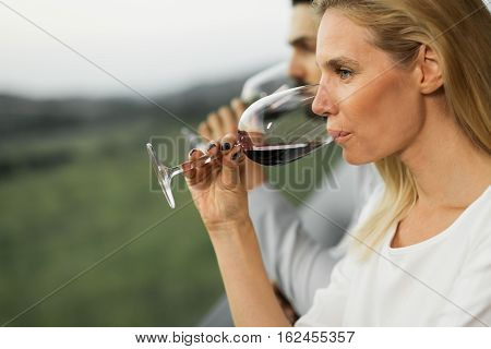 People Tasting Wine Outdoors